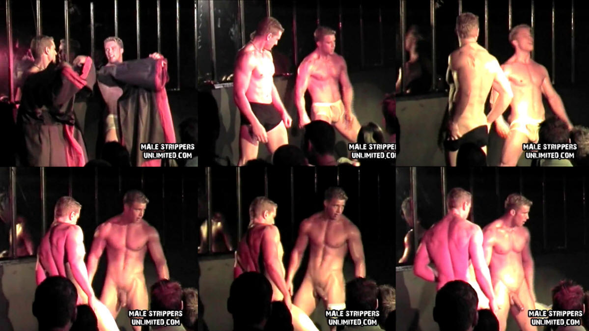 2 male dancers strip woman on stage - 2 part 3
